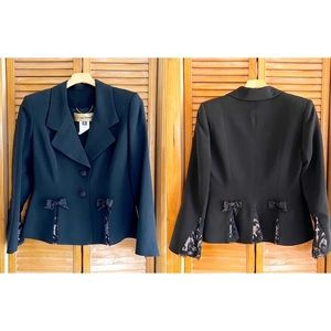 Louis Feraud Black Bow Lace Detail Blazer Jacket